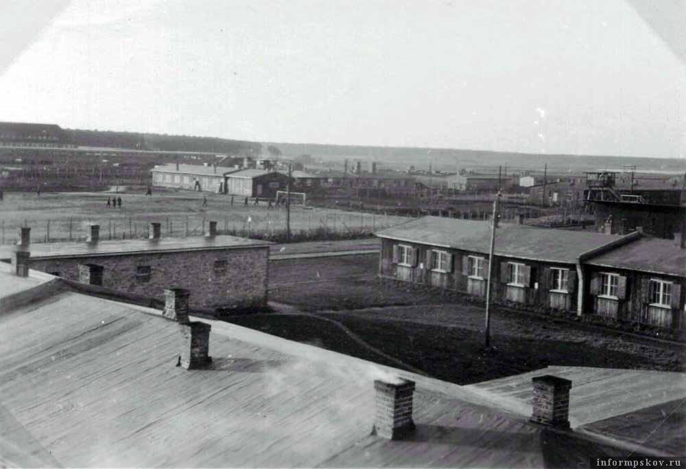 Вид лагеря Stalag Luft I в Барте. Фото сделано пленным американским летчиком, содержавшимся в лагере во время войны