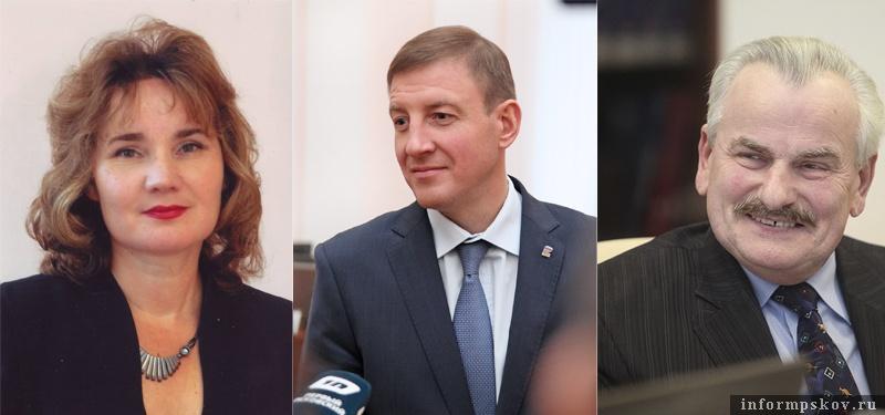 На фото: (слева направо) Оксана Лазарева, Андрей Турчак и Николай Бурый
