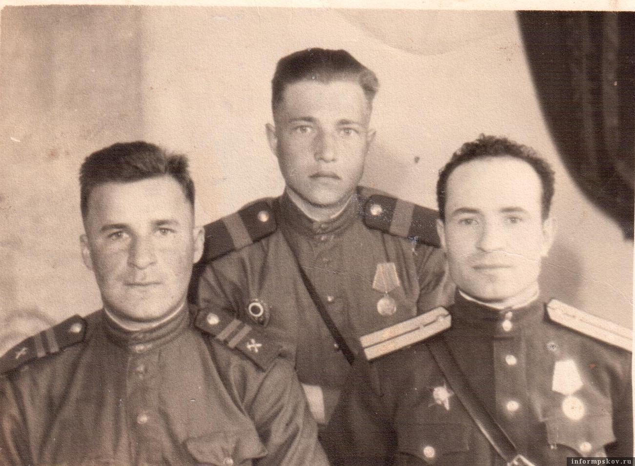 21.04.1945. Слева направо: Д. Байчаров, А. Сипов, М. Белоус