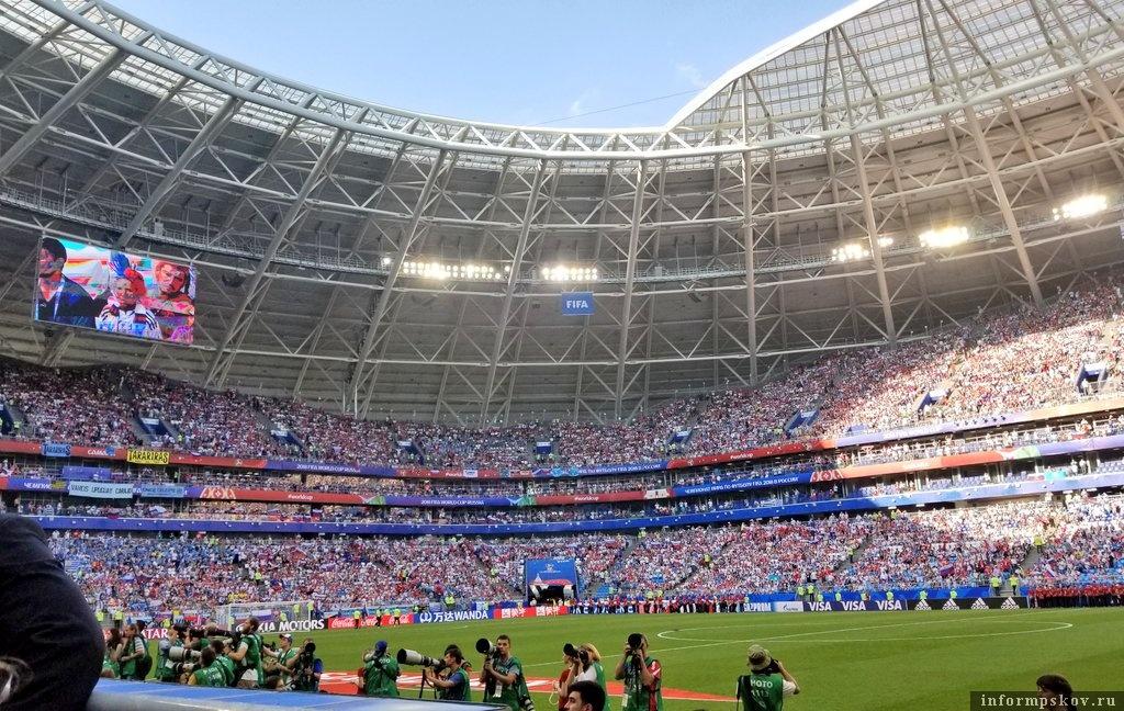 Стадион в Самаре во время матча с Уругваем. Фото из официального Твиттера сборной.