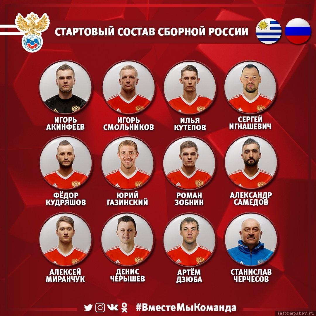 Состав сборной России перед матчем с Уругваем. Фото из официального Твиттера сборной.