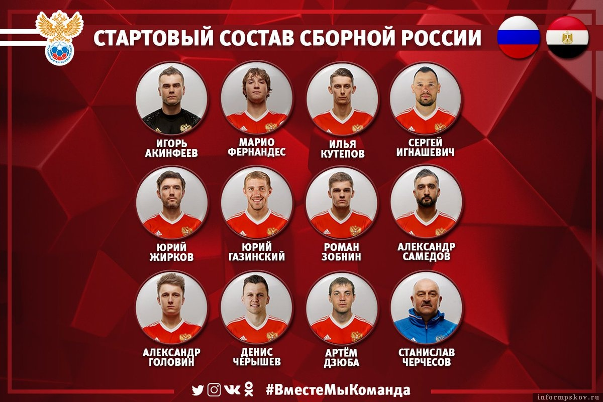 Состав сборной России на матч с Египтом. Фото из официального Твиттера сборной.