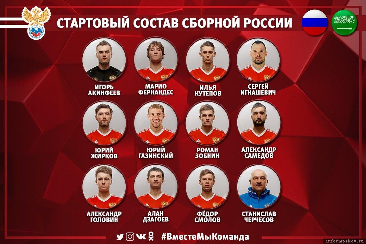 Состав сборной России на матч с Саудовской Аравией. Фото из официального Твиттера сборной.