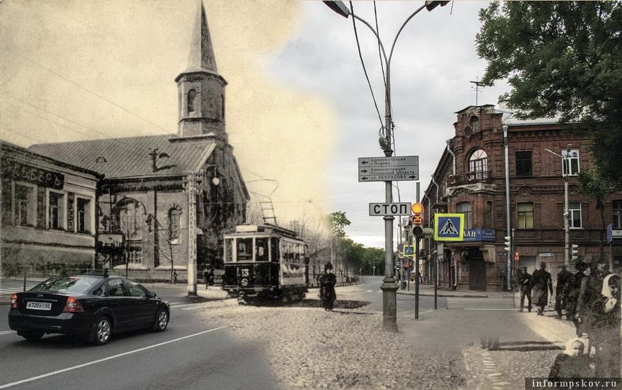 Кирха на Сергиевской улице и современный вид на дом Карла Гельдта