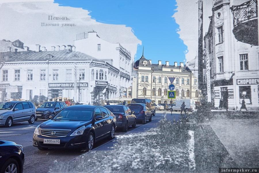Плоская улица и современная Профсоюзная. В центре - сохранившееся до наших дней здание Земского банка