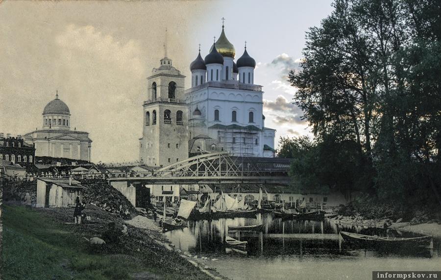 Арочный мост через Пскову. Коллаж Дарьи Хватковой