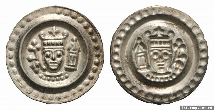Пример европейского брактеата. Здесь так же как и на псковских монетках изображён человек в короне
