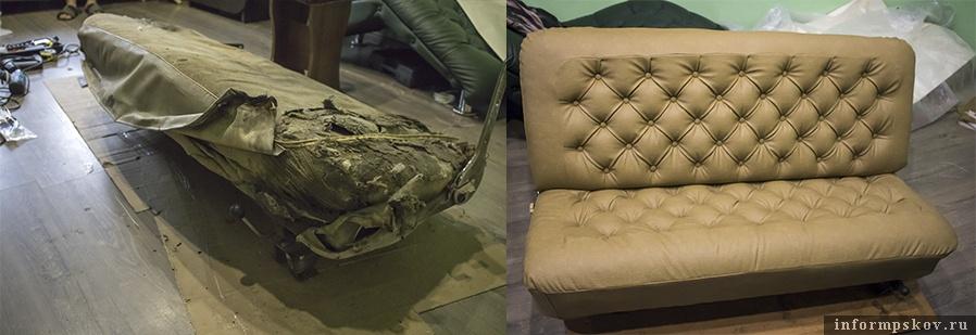 """Сиденье для """"Волги"""" (слева - до, справа - после)"""