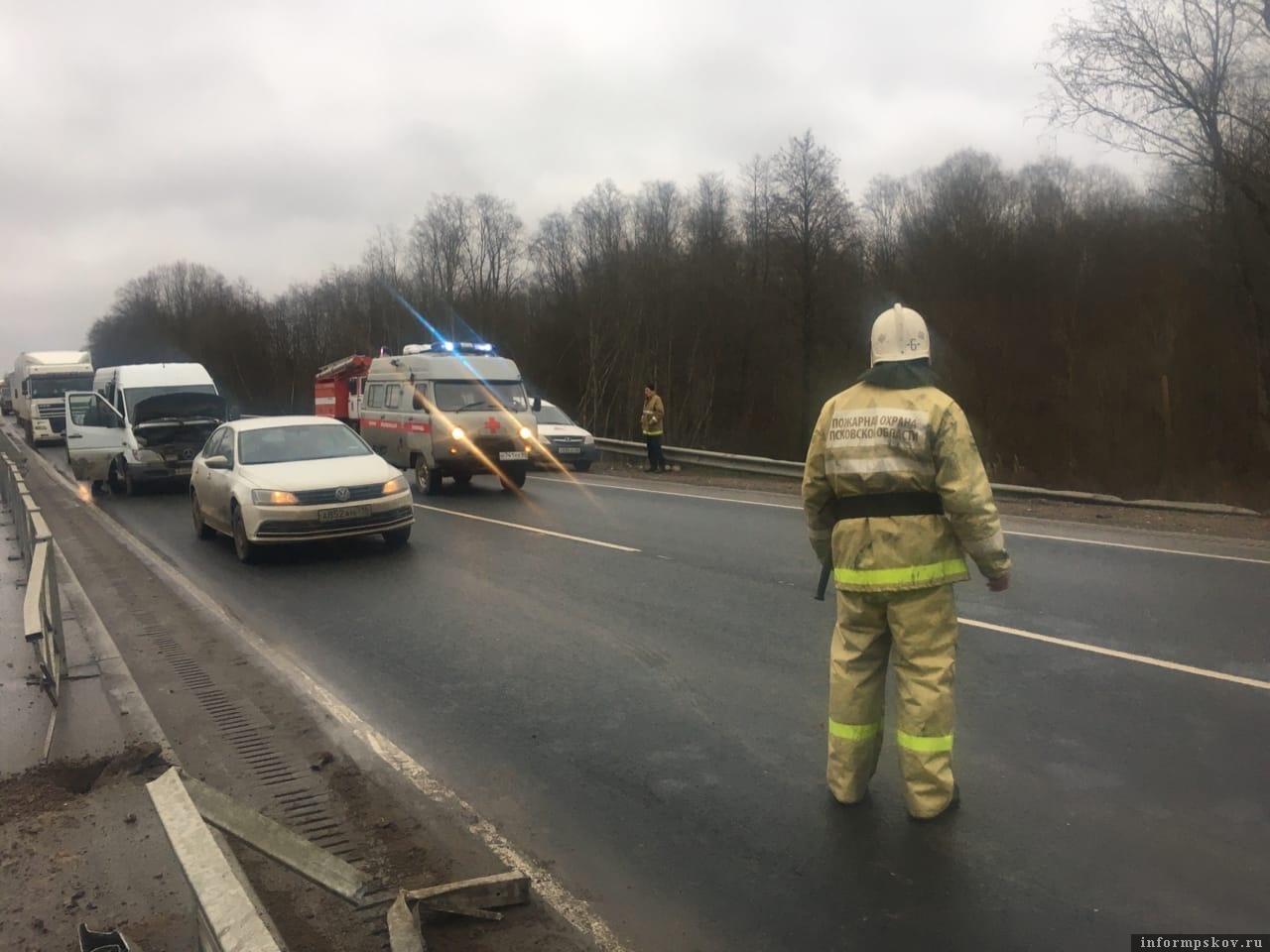 Два грузовика столкнулись в Стругокрасненском районе Псковской области. Фото: Далер Хошимов