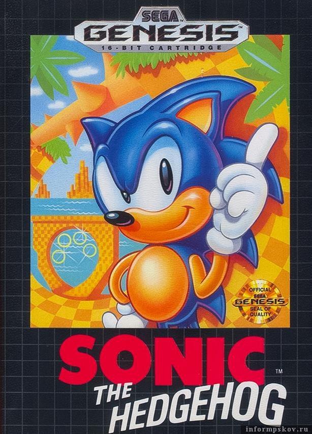 Обложка картриджа с игрой Sonic the Hedhog для Sega Mega Drive/Genesis
