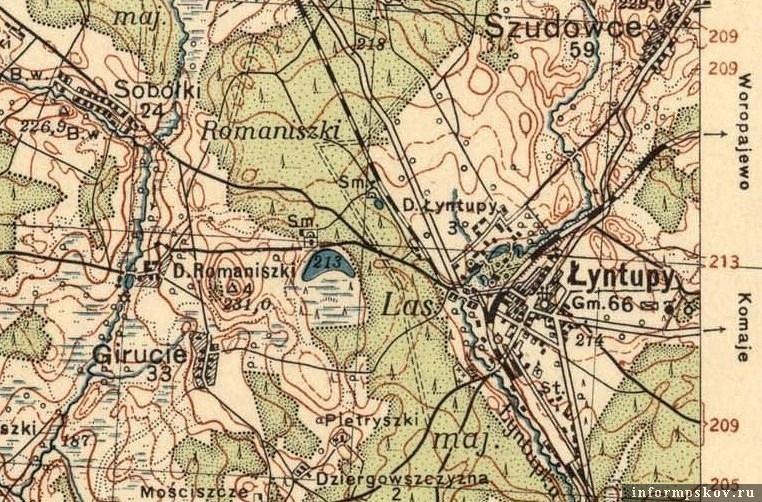 Фрагмент польской карты 1932 года. Слева – Романишки, справа – Лынтупы