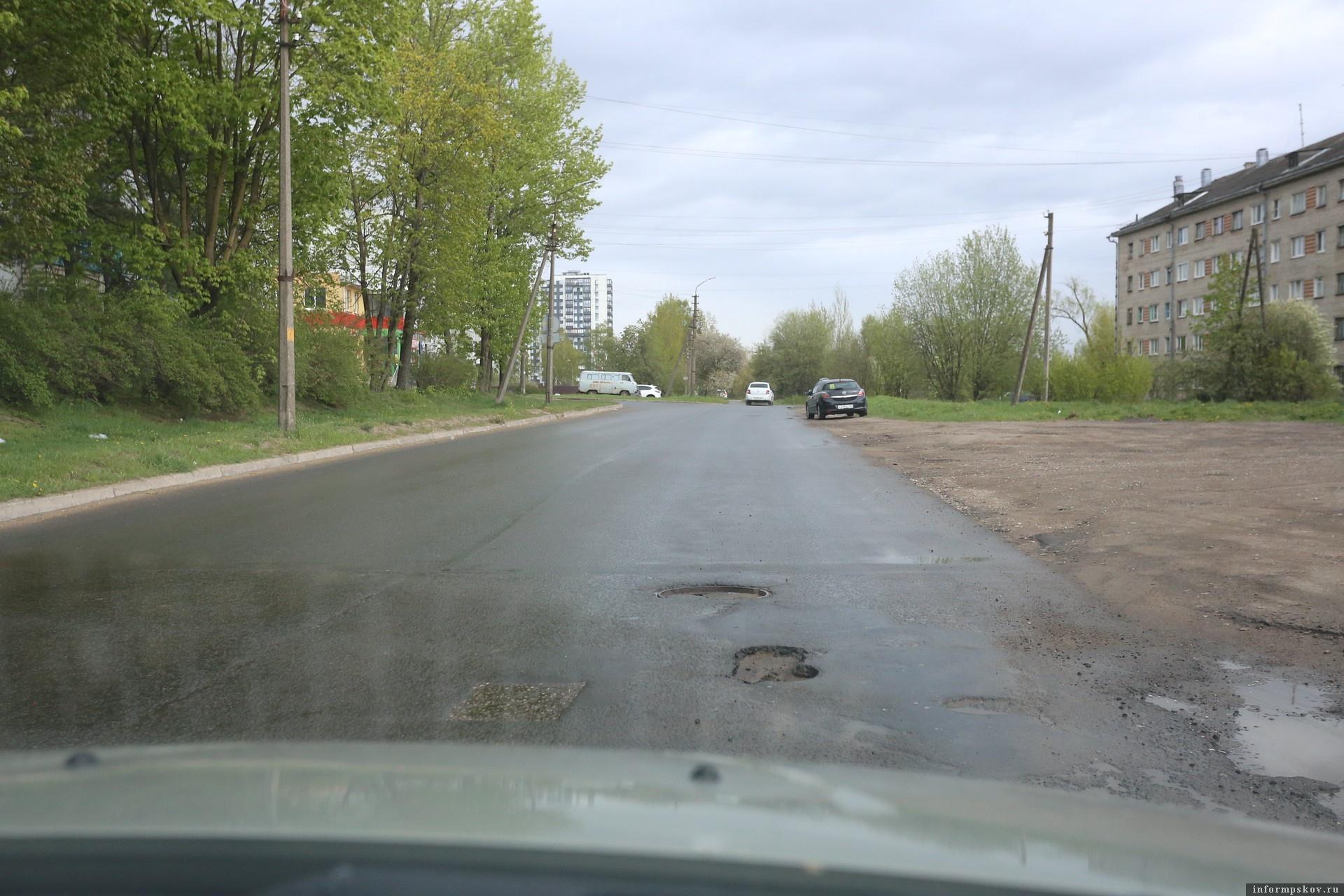 "Улица Алехина в Пскове. Фото: ""Убитые дороги""."