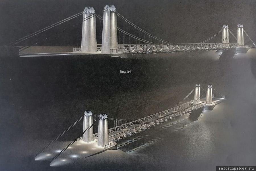 Так будет выглядет подсветка цепных мостов в Острове. Фото комитета по охране объектов культурного наследия