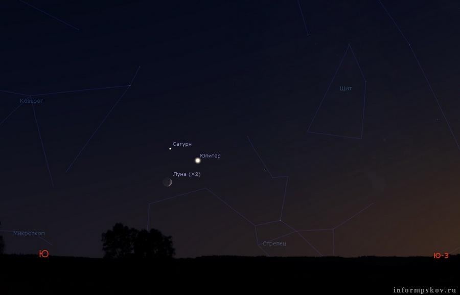 """Молодая Луна, Сатурн и Юпитер над южным горизонтом 19 ноября 2020 года около 17:30. Картинка из сообщества """"ВКонтакте"""" AstroAlert"""
