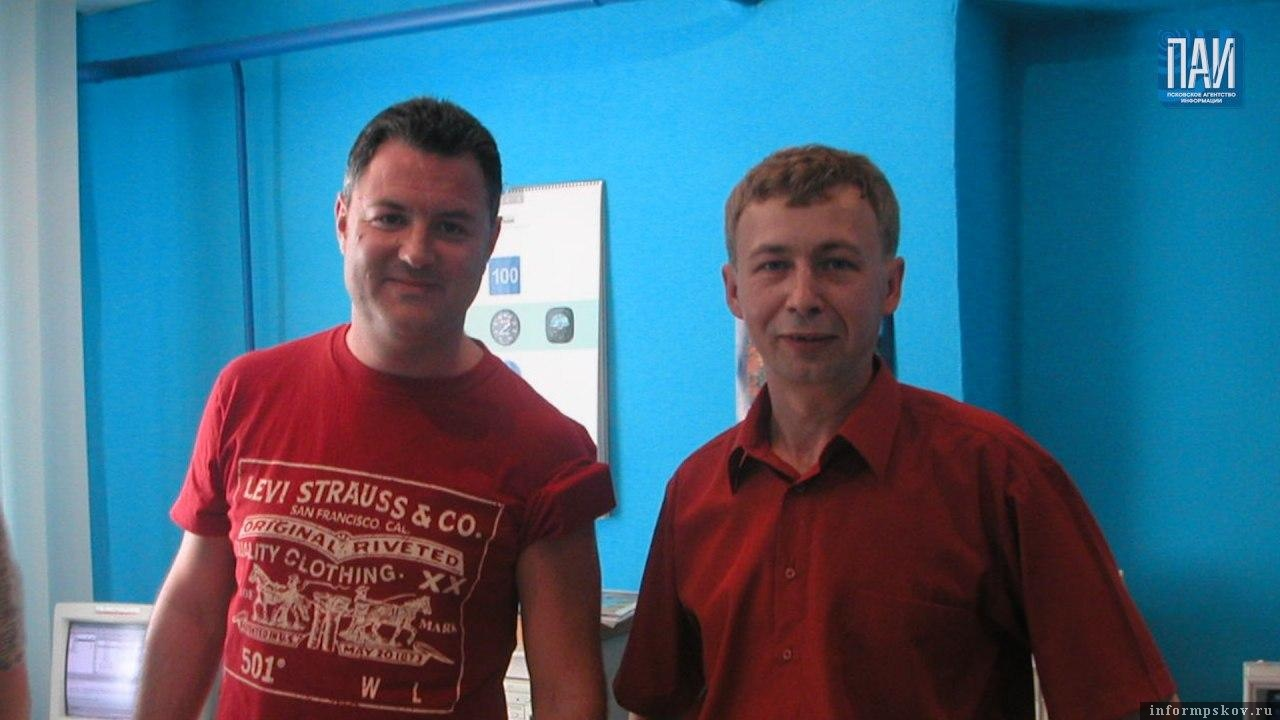 """Максим Леонидов и Андрей Калинин. Фото из архива радио """"7 Неба""""."""