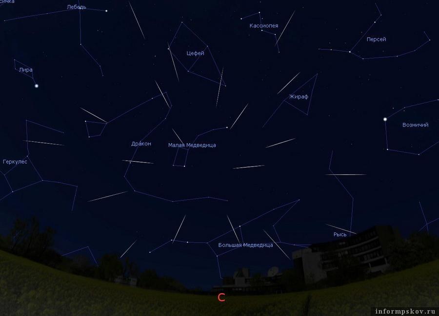 Радиант (область небесной сферы, кажущаяся источником метеоров) метеорного потока Урсиды