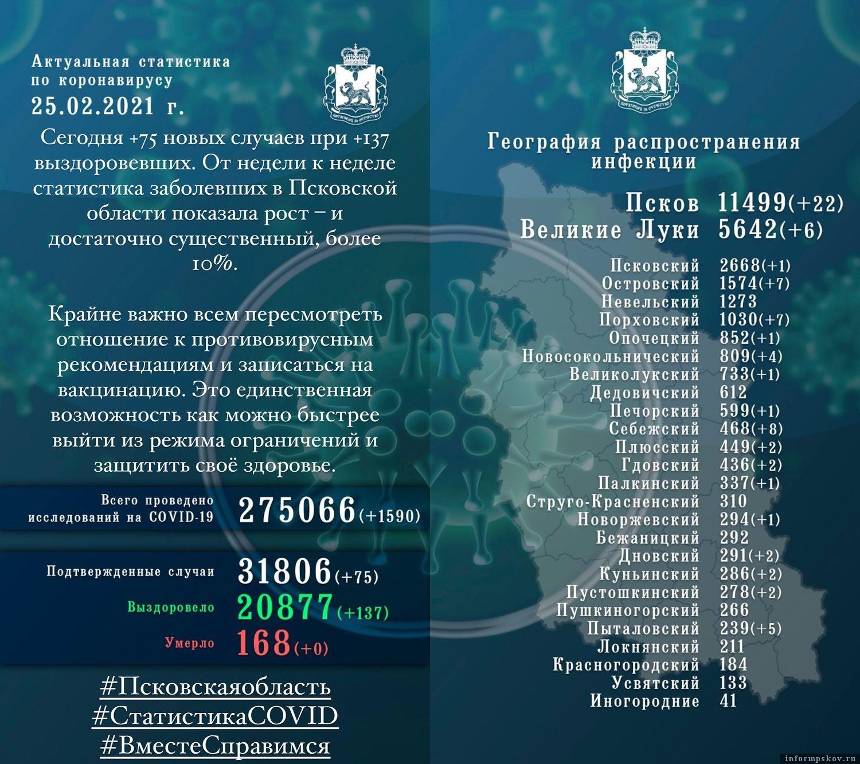 Официальная сводка по коронавирусу в Псковской области на 25 февраля 2021 года.