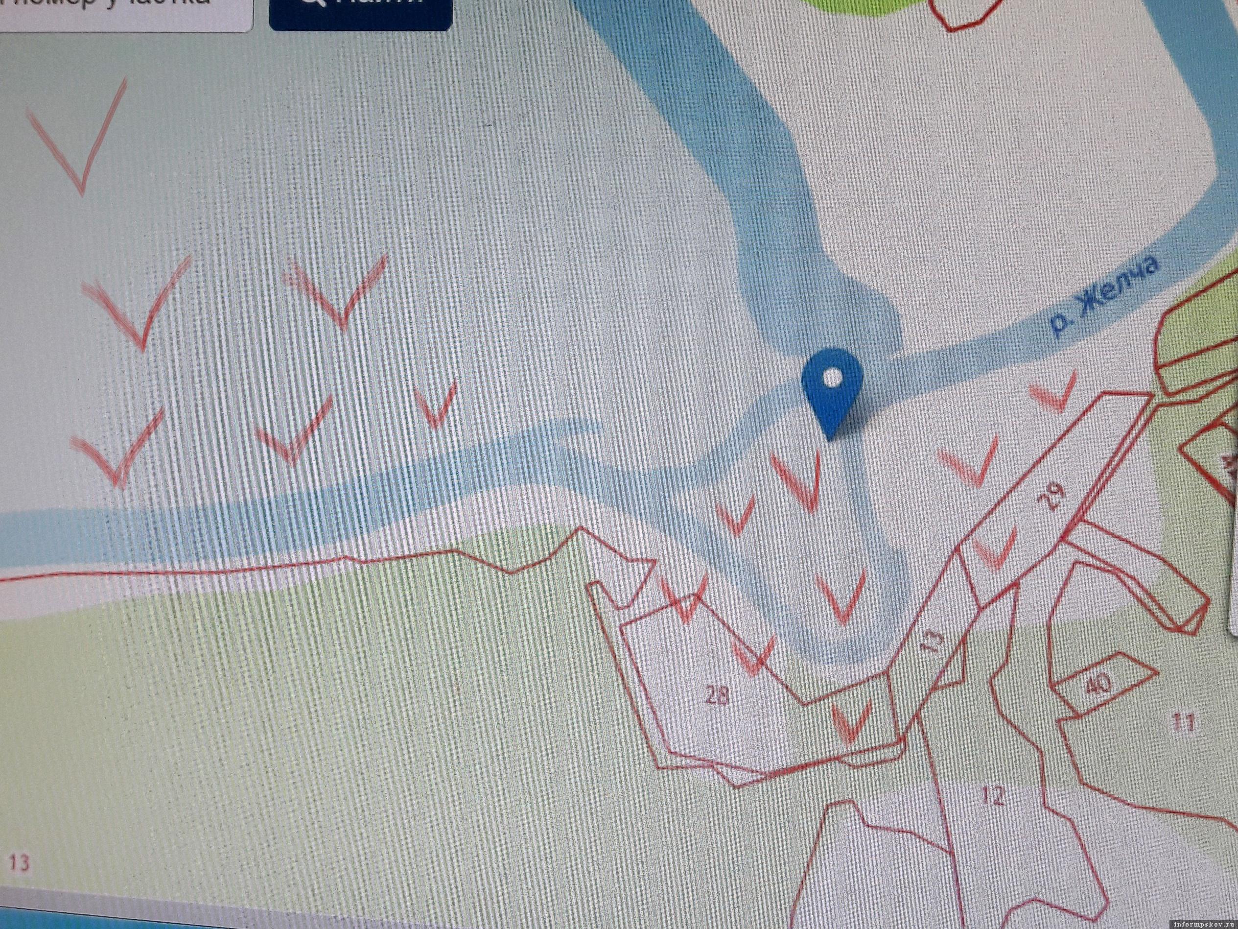 Фрагмент публичной кадастровой карты Псковской области с указанием номеров кадастровых участков. Из сообщений - пострадали только участки № 13, 28 и 29 на левом берегу.