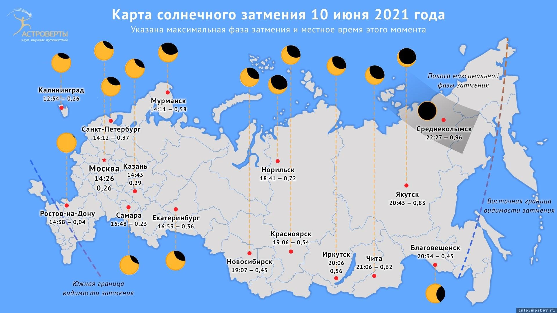 Условия видимости затмения в отдельных городах России
