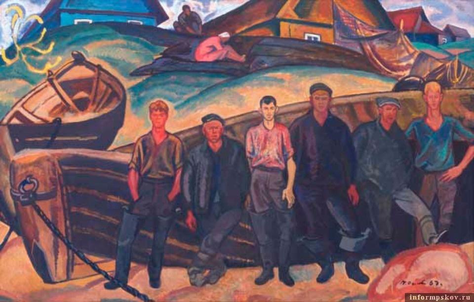 Петр Оссовский. «Рыбаки Псковского озера» (1967). Фото с сайта bibliopskov.ru