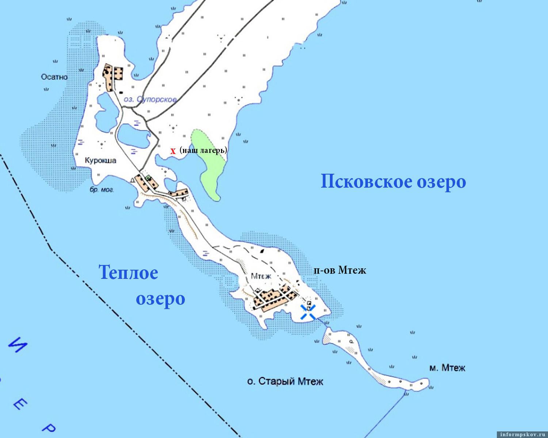 Полуостров Мтеж узкой полоской земли разделяет Псковское и Тёплое озёра между собой.