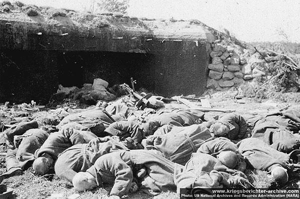 """Причиной расстрела могло стать упорство, с которым оборонялись красноармейцы, тяжелые потери, которые понесли """"эсэсовцы"""" при штурме укрепрайона (фельдмаршал Манштейн в своих мемуарах """"Утерянные победы"""" назвал их «колоссальными»). Еще одной причиной могло стать то, что 6-го июля у Заситино был тяжело ранен командир дивизии группенфюрер СС Теодор Эйке (Теодор Эйке, комендант концлагеря """"Дахау"""", один из создателей системы концлагерей,  один из организаторов """"Ночи длинных ножей""""). Фото сделанно фотографом SS-Kriegsberichter Baumann'ом (дивизия СС Мертвая голова). US National Archives and Records Administration (NARA), с сайта www.kriegsberichter-archive.com"""