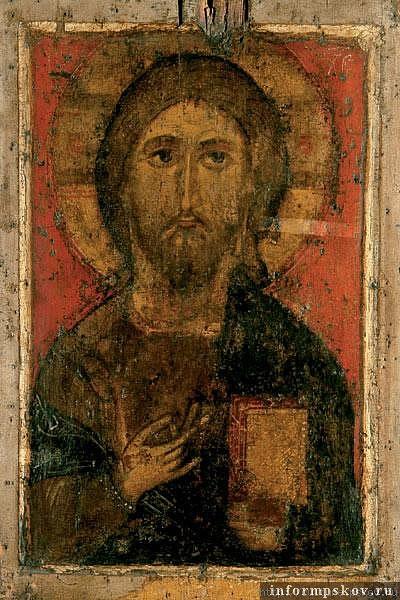 На фото: икона Спас Елеазаровский (середина XIV века)_