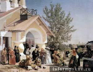 на фото: картина «Выход из церкви в Пскове»