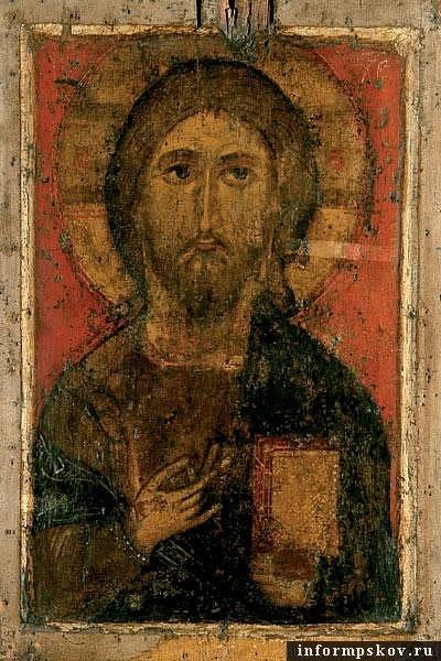 На фото: икона Спас Елеазаровский (середина XIV века)