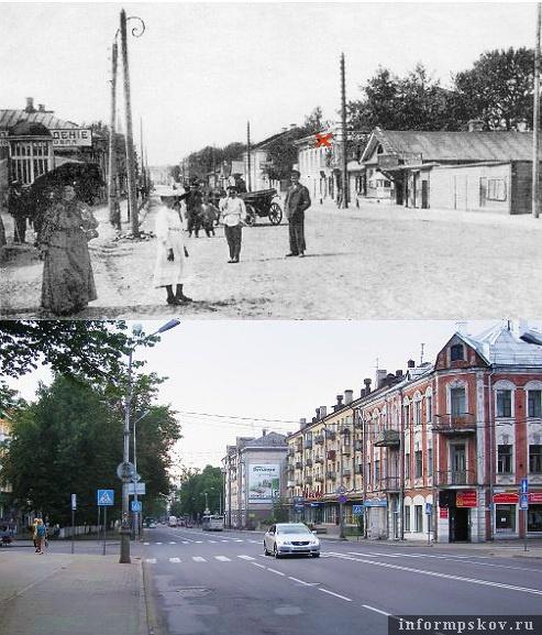 На фото: красным крестиком обозначен дом Ивана Дмитриева. Фото начала XX и начала XXI веков