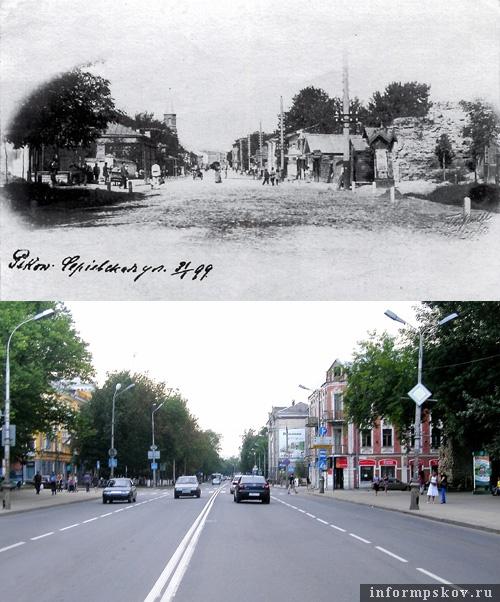 На фото: вид на бывшие владения Бернарда Игнатьева. Век XIX и век XXI.  (Фото с сайта petshowboys.narod.ru)