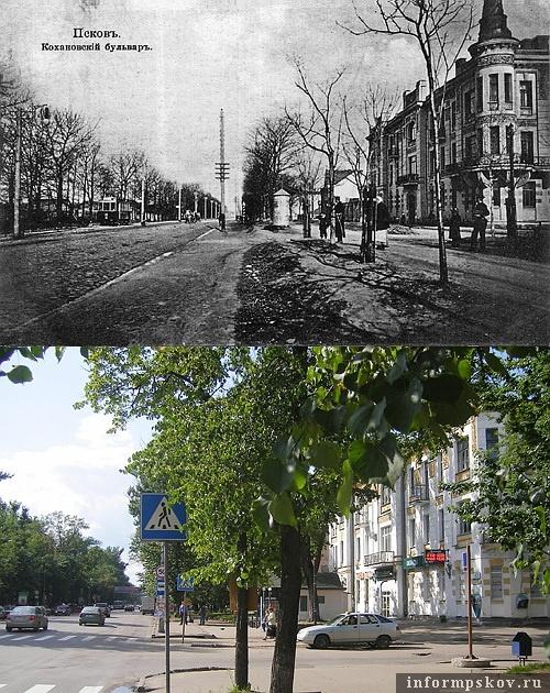 На фото: дом Станкевича в начале XX и в начале XXI века