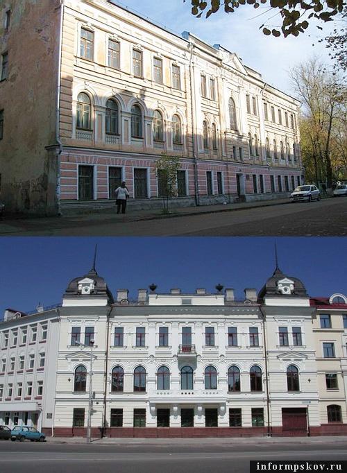 На фото: дом Батова и бывшее здание Земского банка