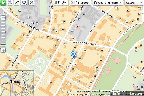 На фото: дом Луцаенко на современной карте Пскова