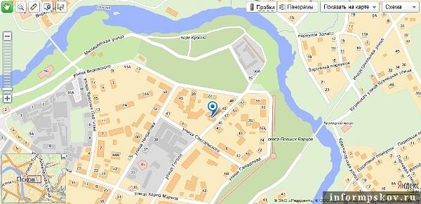 На фото: карта Пскова с обозначением Солодёжни