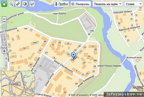 На фото: карта Пскова с обозначением дома Печенко