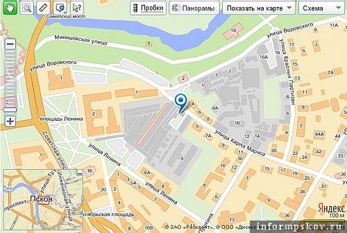 На фото: современная карта Пскова