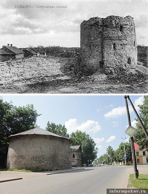 На фото: Петровская башня в XIX и XXI веке