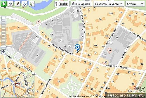 На фото: карта Пскова с обозначением Дома крестьянина
