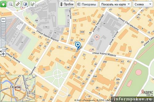 На фото: карта Пскова с обозначением дома Лахновского