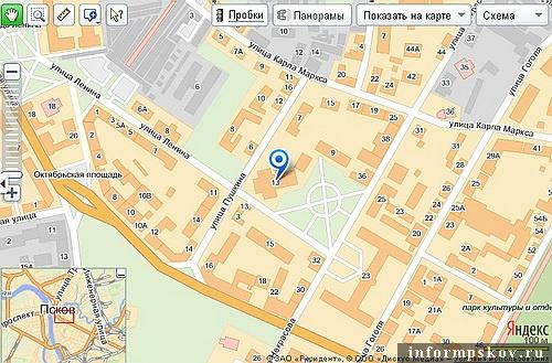 На фото: современная карта Пскова с обозначением театра