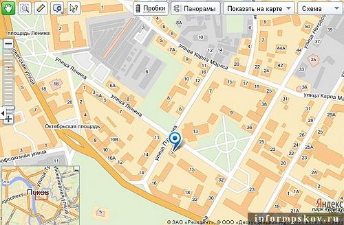 На фото: бывшая гостиница «Россия» на современной карте Пскова