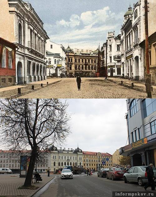 На фото: Плоская (Профсоюзная) улица в XIX и XX веке