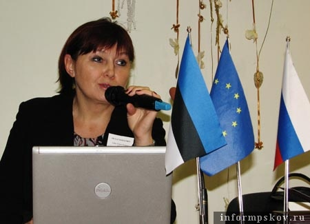 Ольга Василенко на презентации предварительных итогов проекта «Ганзейские связи» в Тарту