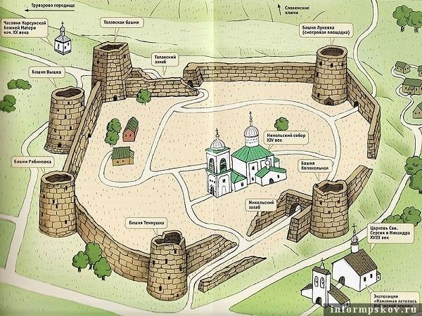 На фото: схема изборской крепости