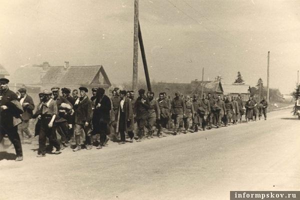На фото: Колонна военнопленных и гражданских на Запсковье. Июль 1941 года. Главной причиной смертности в лагерях военнопленных зимой 1941/42 гг, кроме голода и болезней, был холод. Военнопленных содержали либо в неприспособленных, зачастую неотапливаемых помещениях, либо вообще в поле. Большинство попало в плен еще летом, в летнем обмундировании. В нем они и встретили зиму. Фото из альбома транспортной группы Kampfgruppe z.b.v. 9. Из коллекции Вячеслава Волхонского.